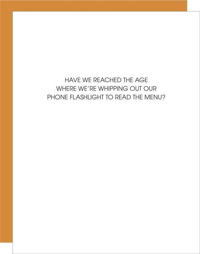 Read Menu With Phone Flashlight  Greeting Card