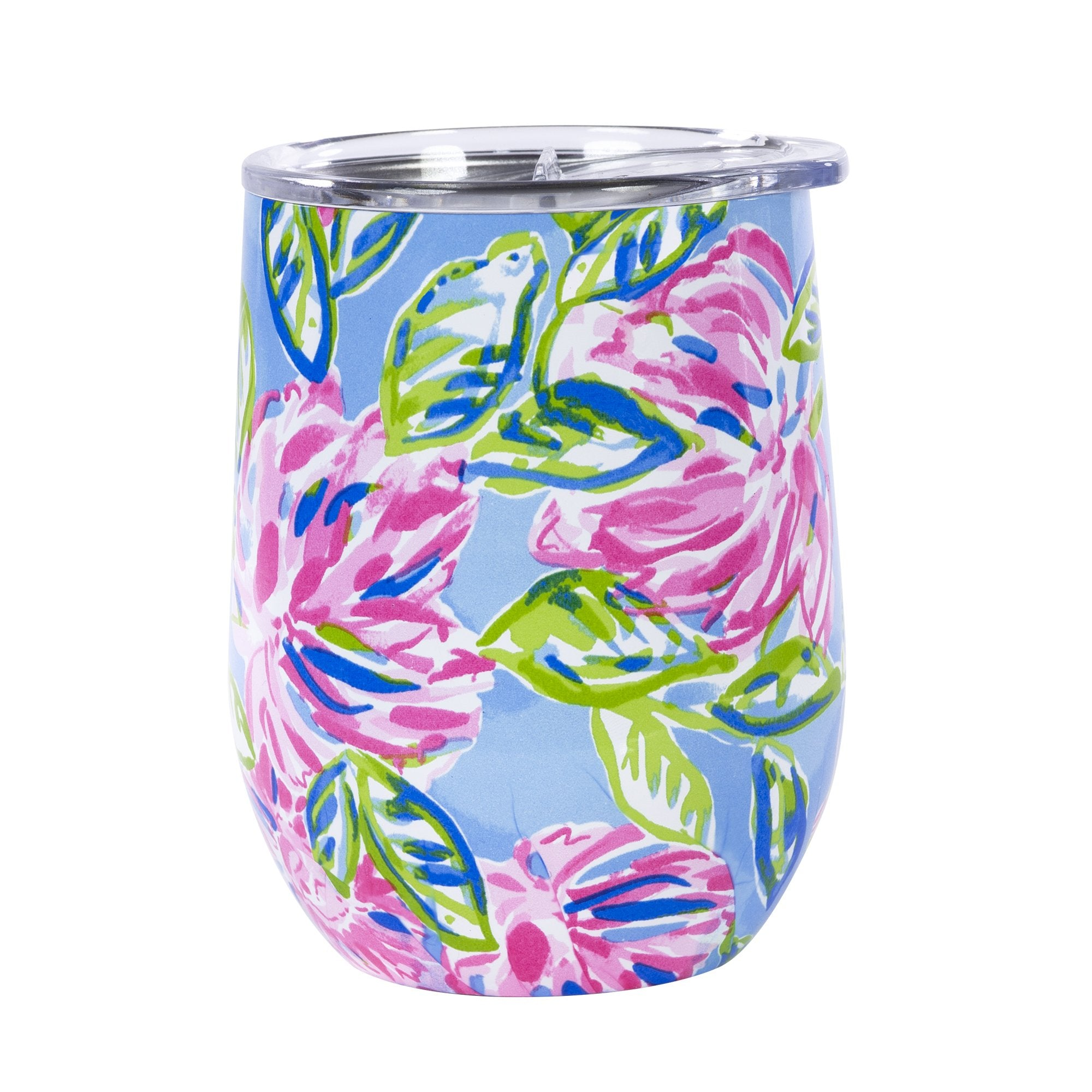 Lilly Pulitzer Stainless Steel Wine Glass With Lid, Totally Blossom