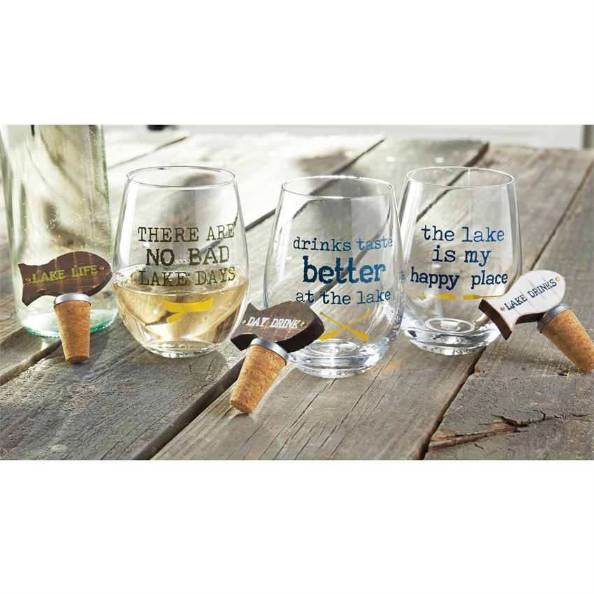 Lake Stemless Wine Glass & Stopper Set