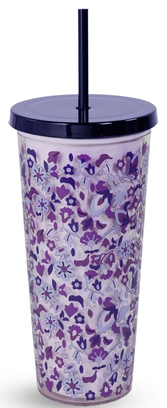 Vera Bradley Double Wall Tumbler with Straw, 24oz - Regal Rosette