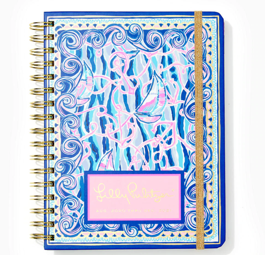 2021 Lilly Pulitzer 17 Month Large Agenda, Blue Reel Nauti