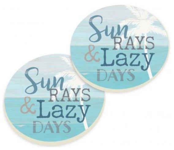 Sun Rays & Lazy Days Car Coaster Pack