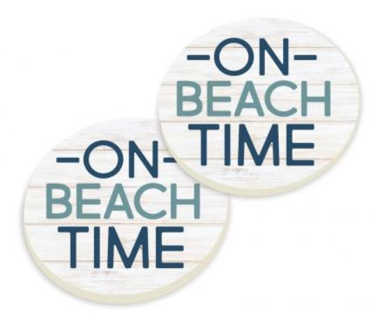 On Beach Time Car Coaster Pack