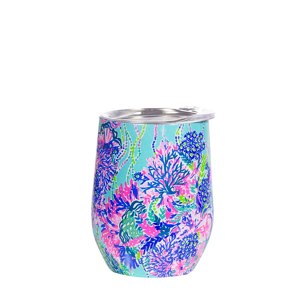 lilly pulitzer stainless steel wine glass with lid, beach you to it (12 oz)