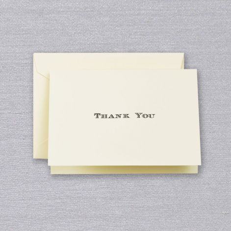 Crane Black Engraved Thank You Note