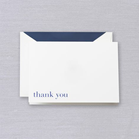Crane Bodoni Blue Thank You Note