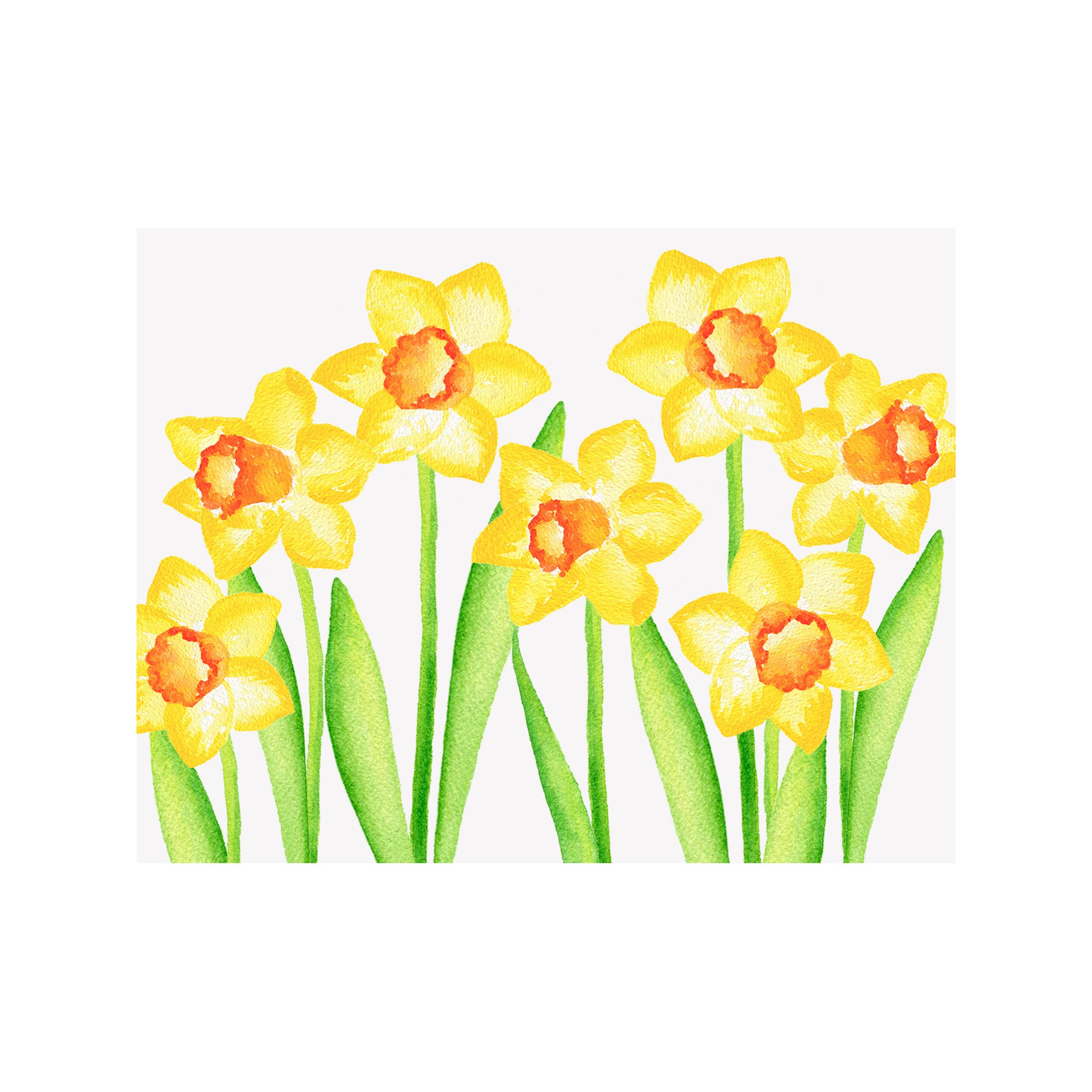 Daffodil Floral Folded Note Card