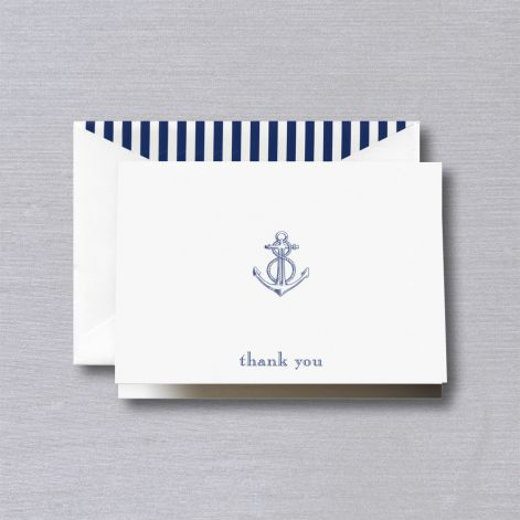 Crane Engraved Anchor Thank You Note