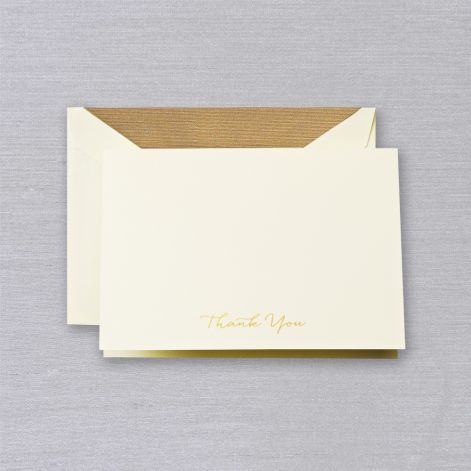 Crane Engraved Gold Script Thank You Note