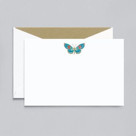 Crane Engraved Butterfly Correspondence Card