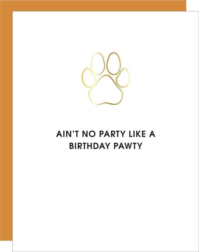 Birthday Pawty - Paw Print Paper Clip Greeting Card