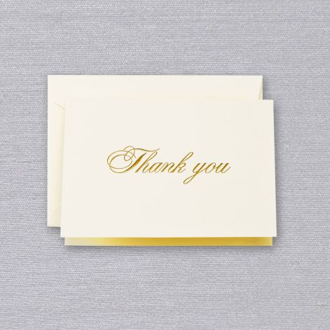 Crane Gold Script Thank You Note