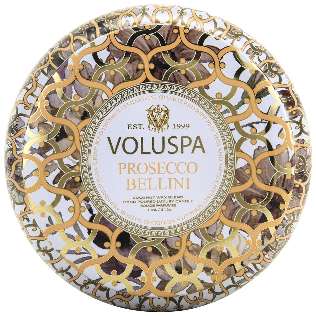 Voluspa Prosecco Bellini 2-Wick Tin Candle
