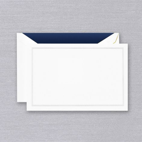 Crane Navy Blue Triple Hairline Card