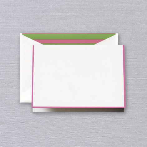 Crane Raspberry Bordered Note with Pink and Green Stripe Lining