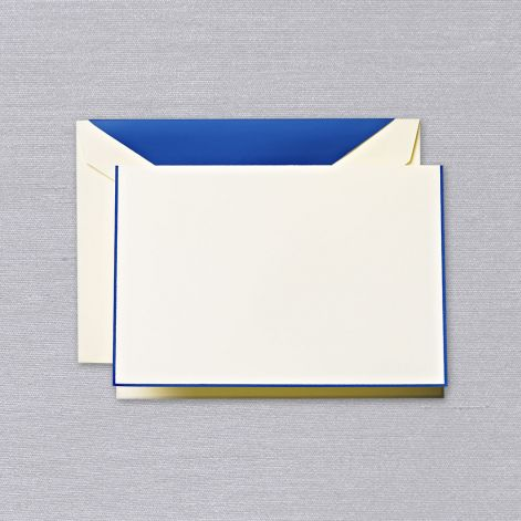 Crane Regent Blue Bordered Ecru Note with Liner