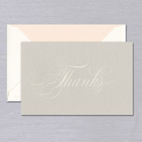 Vera Wang Taupe Engraved Script Thank You Note