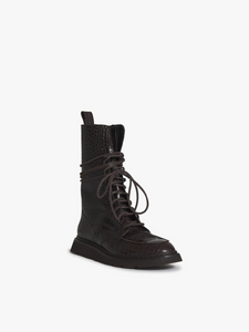 CROC LEATHER COMBAT BOOT