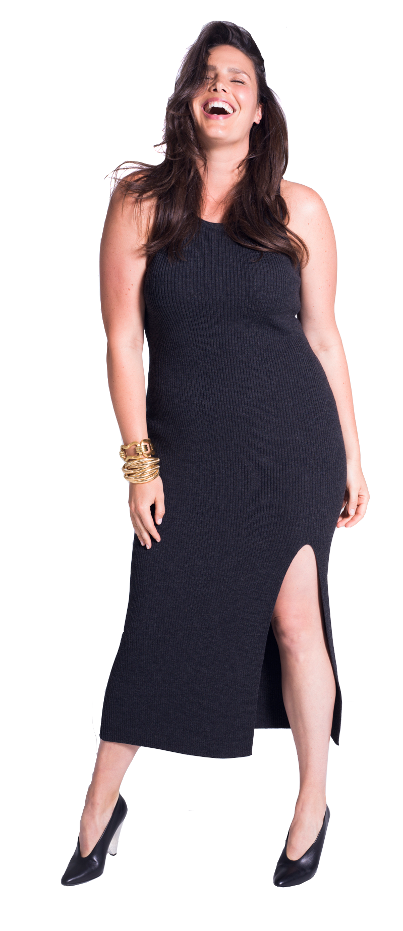 Michael Kors Collection black ribbed knit dress