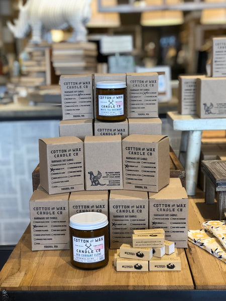 Cotton and Wax candles at Green Roost