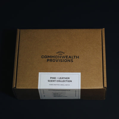 Commonwealth Provisions Pine + Leather Scent Collection Gift Set Box