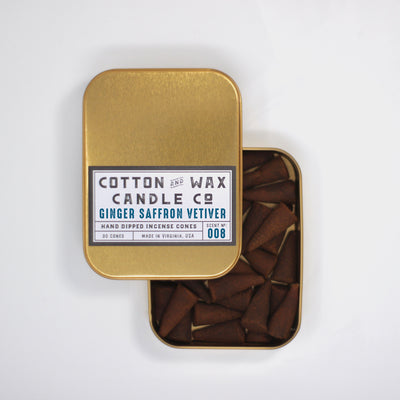 Cotton and Wax Candle Co. Ginger Saffron Vetiver Incense Cones