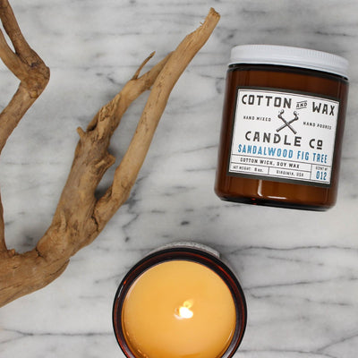 Cotton and Wax Candle Co. No. 012: Sandalwood Fig Tree Handmade Scented Soy Candle