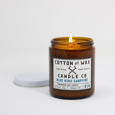 Cotton and Wax Candle Co. No. 014: Blue Ridge Campfire Scented Handmade Soy Candle