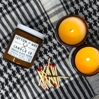 Cotton and Wax Candle Co. No. 001: Tobacco Black Pepper Handmade Scented Soy Candle