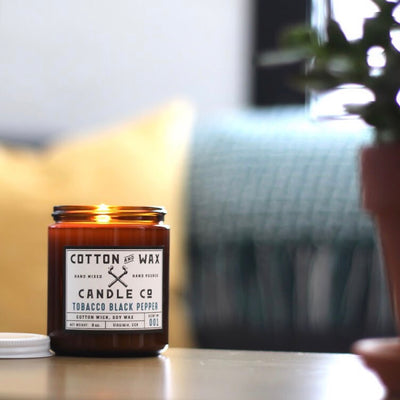 Cotton and Wax Candle Co. Tobacco Black Pepper Handmade Scented Soy Candle