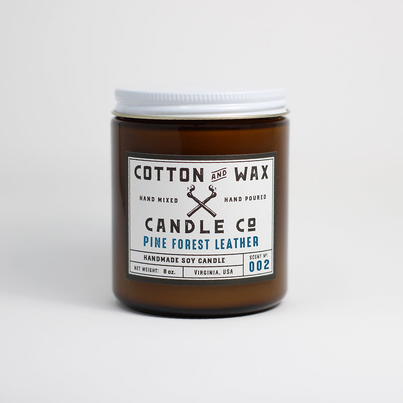 Cotton and Wax Candle Co. Pine Forest Leather Handmade Scented Soy Candle