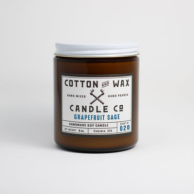 Cotton and Wax Candle Co. Grapefruit Sage Handmade Soy Candle