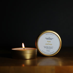 Pine + Leather Travel Candle