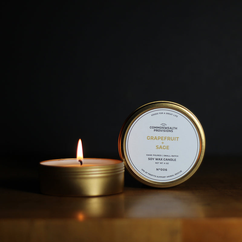Commonwealth Provisions Grapefruit + Sage Travel Candle