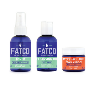 FATCO Facial Skincare Basics set for dry skin 2oz Cleansing Oil for dry skin 2 oz Toner 1 oz Myrrhaculous Face Cream against a white background
