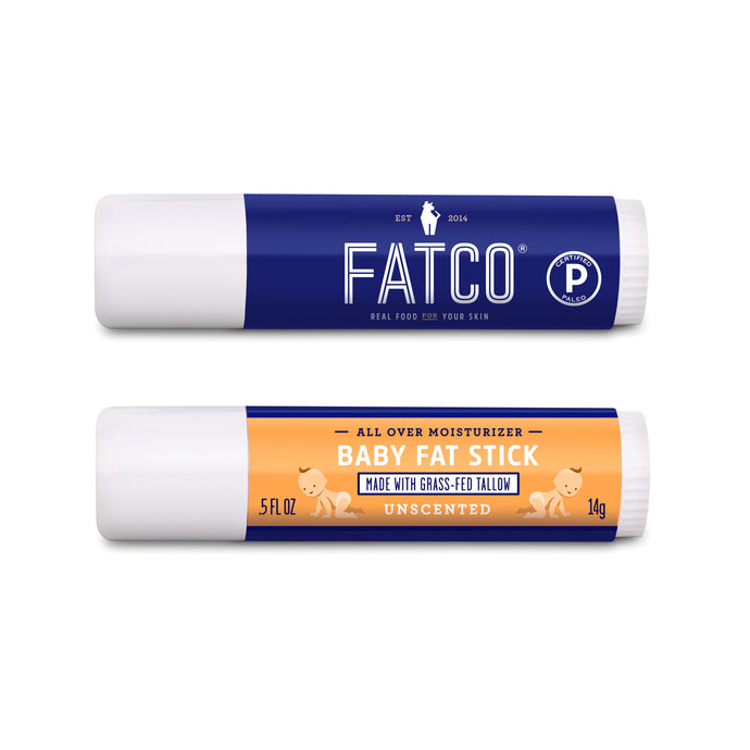 FATCO nourishing Baby Fat Stick unscented all purpose moisturizing stick against a white background