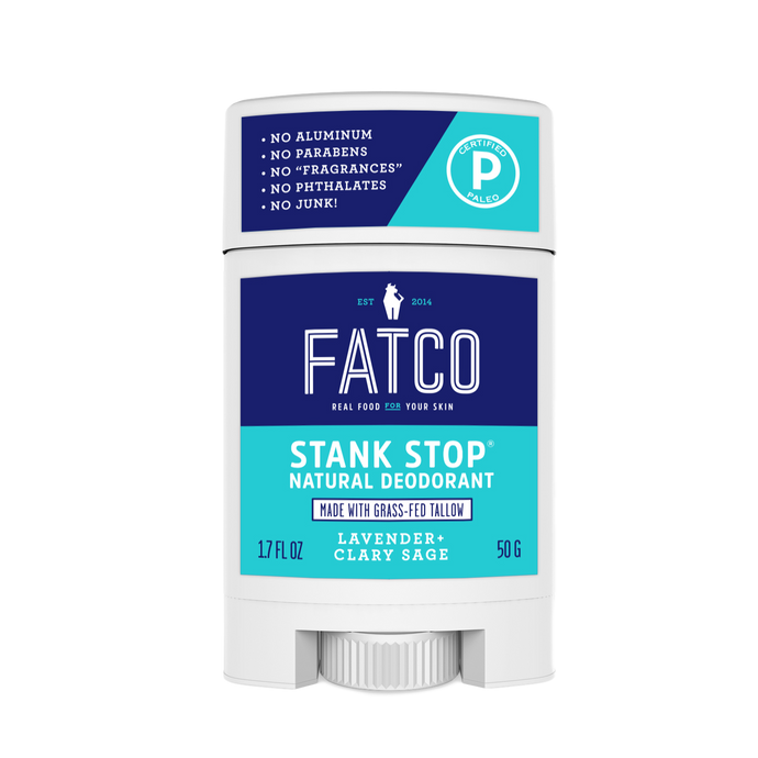 STANK STOP DEODORANT STICK, LAVENDER+SAGE, 1.7 OZ-FATCO1-FATCO Skincare Products grass fed tallow paleo skincare natural deodorant aluminum free