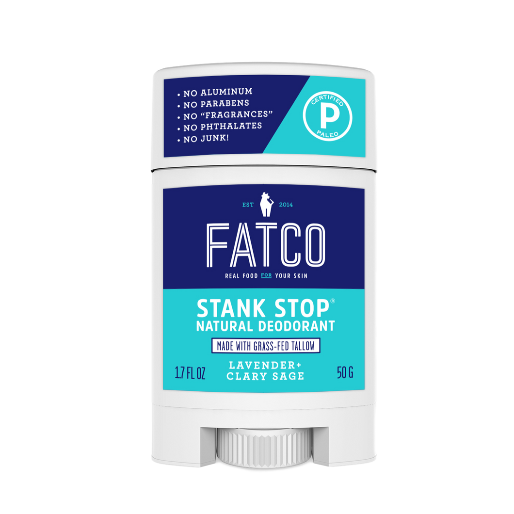 FATCO Stank Stop natural deodorant, lavender & sage, 1.7oz, front view