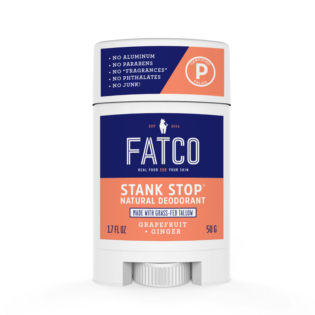 FATCO Stank Stop natural deodorant, grapefruit & ginger, 1.7oz, front view
