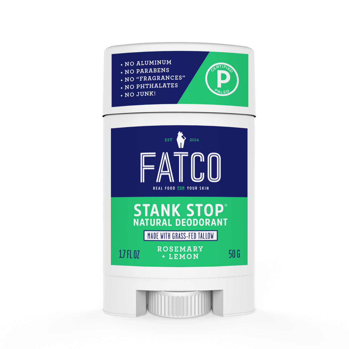 STANK STOP DEODORANT STICK, ROSEMARY+LEMON, 1.7 OZ-FATCO1-FATCO Skincare Products grass fed tallow paleo skincare natural deodorant aluminum free