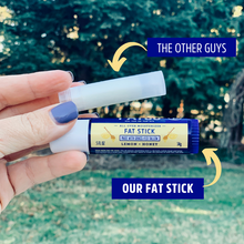 image showing a size comparison between our Fat Stick lemon and honey and a standard lip balm tube