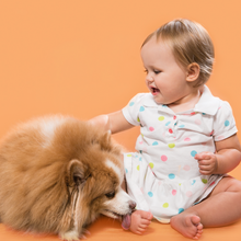 Baby sitting next to a small dog, with the dog licking the baby's foot against an orange background