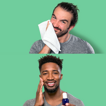 two different men using the FATCO cleansing oil against a green background