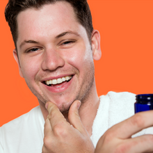 Image of a young man applying FATCO myrrhaculous Face cream