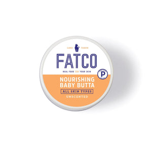 FATCO Baby Butta nourishing paleo Tallow balm Top View cover against white background logo