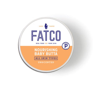 FATCO Nourishing Baby Butta paleo tallow balm lotion 8oz Jar Top view against a white background