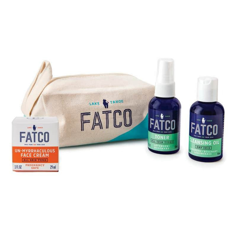 FACIAL SKINCARE SET FOR DRY SKIN, PREGNANCY SAFE-FATCO Skincare Products paleo skincare OCM oil cleanser toner unmyrrhaculous tallow balm face cream bag tote travel pregnancy safe
