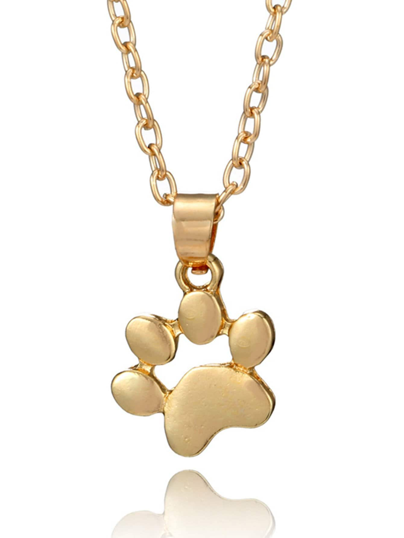 Dog Footprint Pendant Chain Necklace