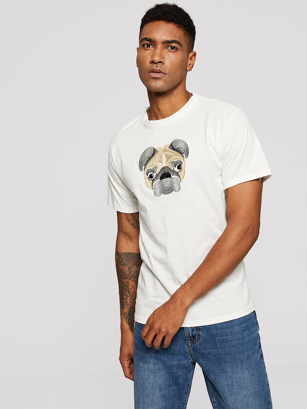 Men Dog Embroidery Tee