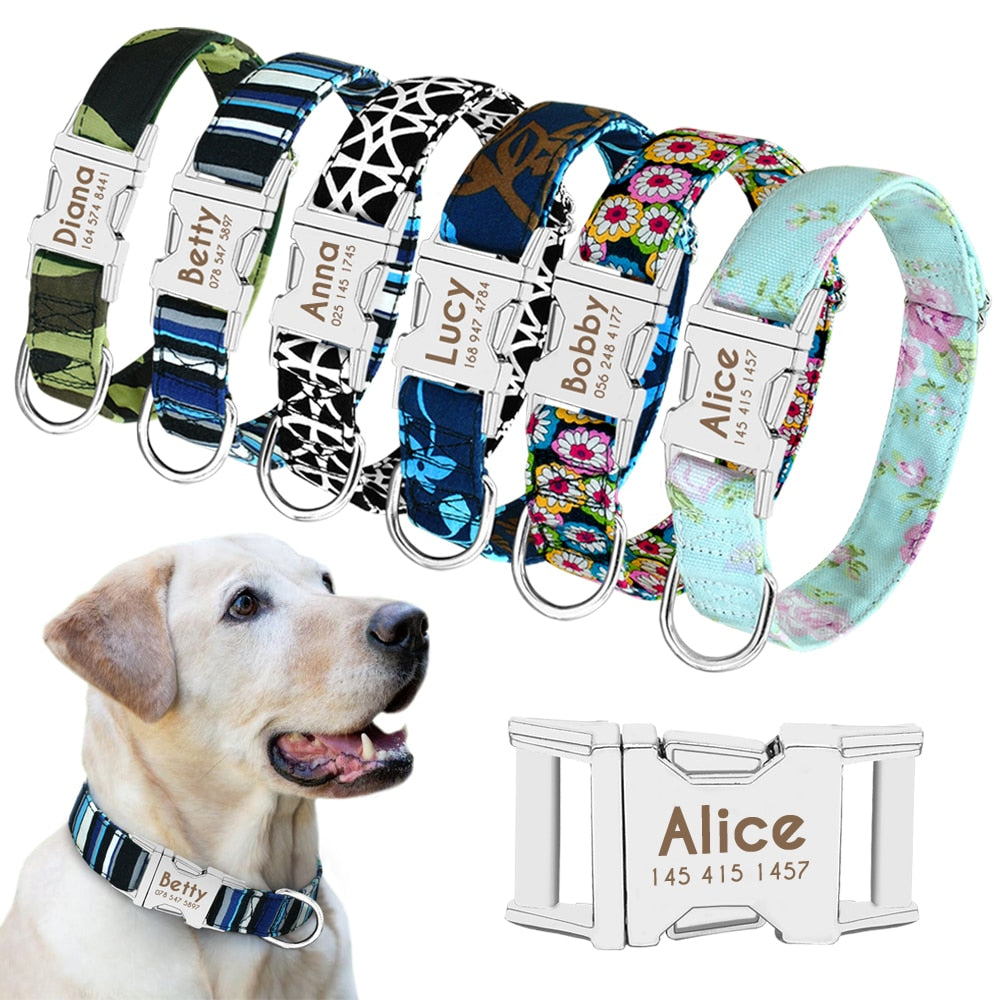 Personalized Nylon Pet Dog Tag Collar